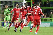 Scunthorpe United's Abo Eisa(30) scores a goal 0-2 and celebrates during the EFL Sky Bet League 2 match between Forest Green Rovers and Scunthorpe United at the New Lawn, Forest Green, United Kingdom on 7 December 2019.