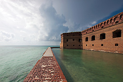 Brick wall surrounding moat outside of Fort Jefferson, Dry Tortugas National Park, Florida, United States of America