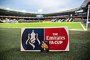 The match day programme sits in front of an FA Cup sign inside the KCOM Stadium ahead of the The FA Cup match between Hull City and Chelsea at the KCOM Stadium, Kingston upon Hull, England on 25 January 2020.