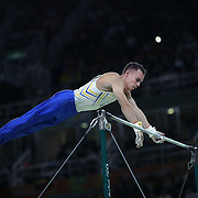 Gymnastics - Olympics: Day 5  Oleg Verniaiev #191 of Ukraine in action during his routine on the Horizontal Bar during the Artistic Gymnastics Men's Individual All-Around Final at the Rio Olympic Arena on August 10, 2016 in Rio de Janeiro, Brazil. (Photo by Tim Clayton/Corbis via Getty Images)