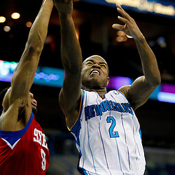 January 4, 2012; New Orleans, LA, USA; New Orleans Hornets point guard Jarrett Jack (2) shoots over Philadelphia 76ers small forward Andre Iguodala (9) during the first quarter of a game at the New Orleans Arena.   Mandatory Credit: Derick E. Hingle-US PRESSWIRE