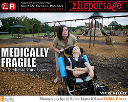 zReportage.com Story of the Week # 640 -  Medically Fragile - Launched August 28, 2017 - Full multimedia experience: audio, stills, text and or video: Go to zReportage.com to see more - August 8, 2017 - Marietta, Georgia, U.S. - SARAH ALLEN encourages her son to to enjoy a specially-adapted swing in a nearby park. She wears this feeding tube pump in her backpack, and Aidan is connected to the pump for 20 hours every day. Allen is both single mother and full-time - though untrained -nurse to her son AIDAN, born with cerebral palsy and complex medical issues. (Credit Image: ? Robin Rayne Nelson/zReportage.com via ZUMA Wire)