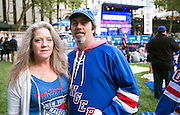 May 20, 2015 - New York, NY. Gary Milliken and Dellon Smart enjoys the pre-game festivities at Bryant Park, prior to the beginning of Game 3 of Rangers VS Tampa. Photograph by Anthony Kane/NYCity Photo Wire