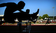 05/23/2009 - Runners silhouette during the 6A Boy's 100 Meter Hurdles. The 2009 OSAA/U.S. Bank/Les Schwab Tires 6A-5A-4A Track and Field State Championships were run at Hayward Field in Eugene, Oregon.....KEYWORDS:  City, Portland, sports, Oregon, high school, OSAA, boys, girls, PIL, run, University, team