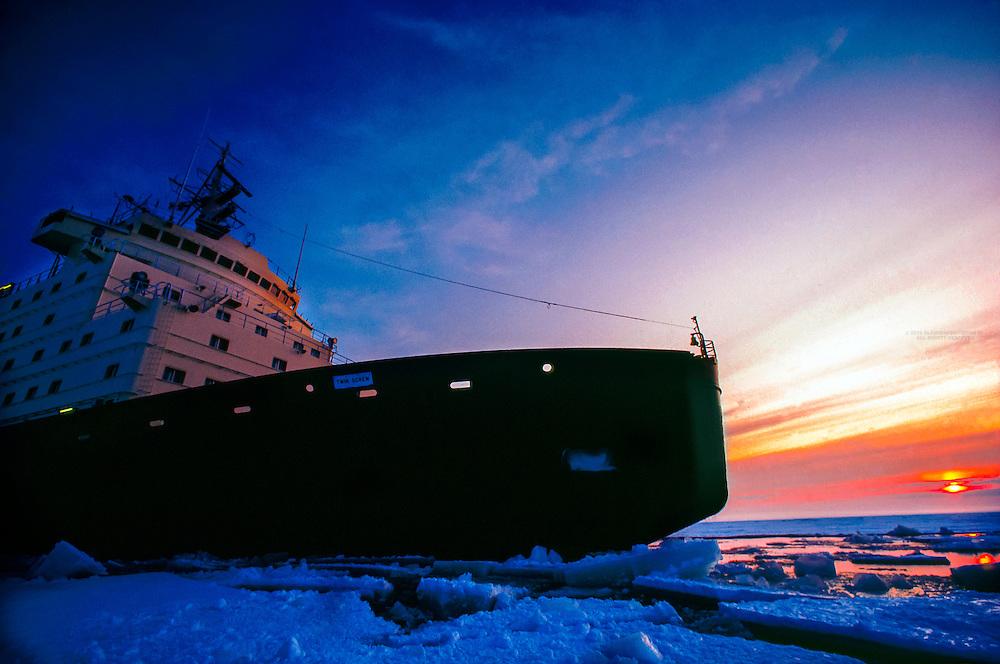 Icebreaker Sisu at work in the Gulf of Bothnia, Northern Finland