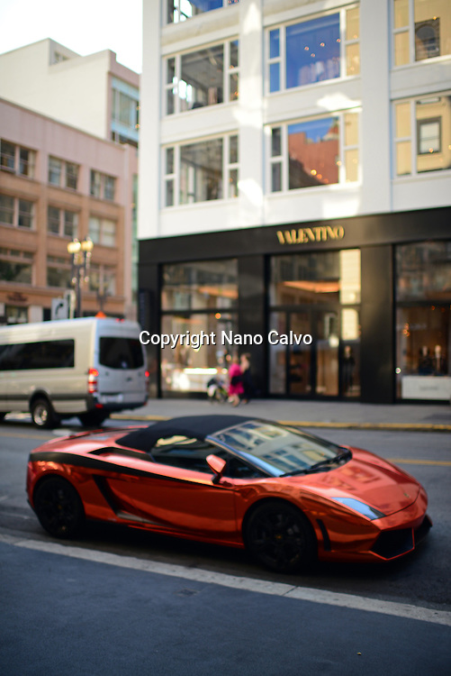 Bright colored Lamborghini parked in Union Square area, Financial District, San Francisco.