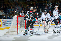 KELOWNA, CANADA - NOVEMBER 6: Colton Heffley #25 of the Kelowna Rockets looks for the pass against the Red Deer Rebels on NOVEMBER 6, 2013 at Prospera Place in Kelowna, British Columbia, Canada.   (Photo by Marissa Baecker/Shoot the Breeze)  ***  Local Caption  ***