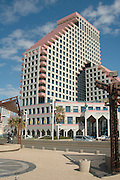 Israel Tel Aviv, The new modern residential and commercial Opera tower built over the remains of the old Opera house on the Tel Aviv beach front. has retained the original facad of the Opera house