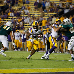 Sep 8, 2018; Baton Rouge, LA, USA; LSU Tigers running back Clyde Edwards-Helaire (22) runs for a touchdown during the fourth quarter of a game against the Southeastern Louisiana Lions at Tiger Stadium. LSU defeated Southeastern 31-0. Mandatory Credit: Derick E. Hingle-USA TODAY Sports