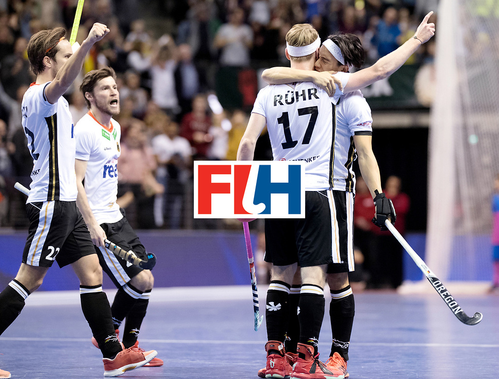 BERLIN - Indoor Hockey World Cup<br /> Final: Germany - Austria<br /> foto: Christopher R&uuml;hr scored the 3-1.<br /> WORLDSPORTPICS COPYRIGHT FRANK UIJLENBROEK