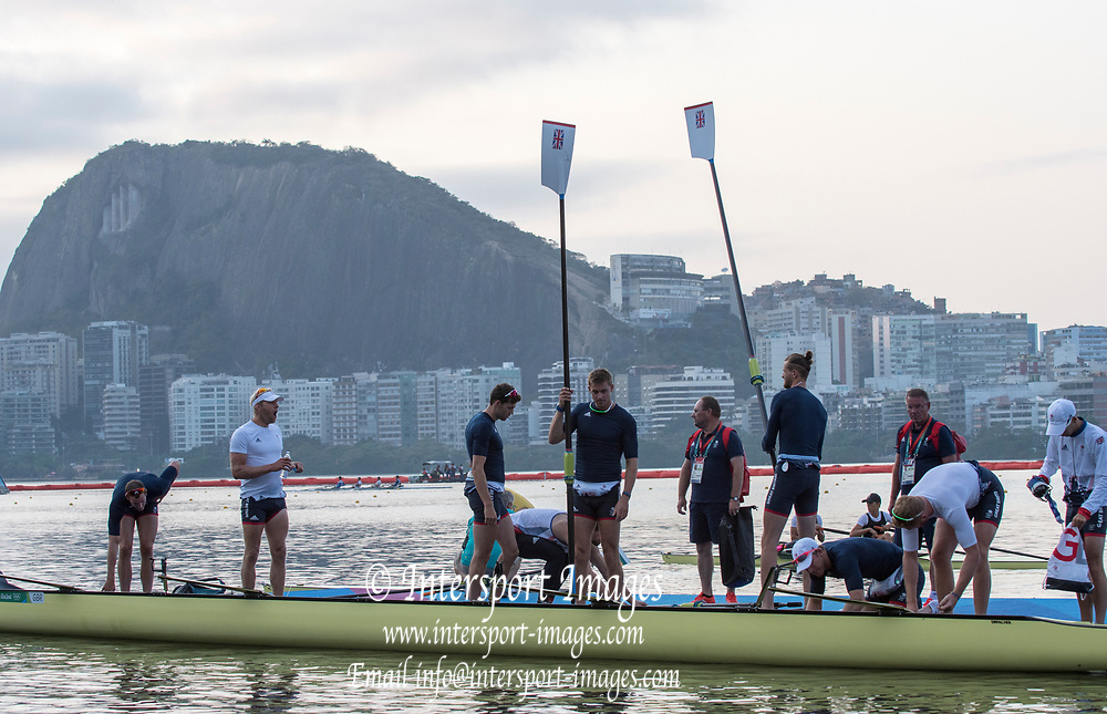 Rio de Janeiro. BRAZIL  GBR M8+, boating for training session. ,  Boating  General view of the boat park.  2016 Olympic Rowing Regatta. Lagoa Stadium,<br /> Copacabana,  &ldquo;Olympic Summer Games&rdquo;<br /> Rodrigo de Freitas Lagoon, Lagoa. Local Time 07:02:04  Tuesday  09/08/2016<br /> [Mandatory Credit; Peter SPURRIER/Intersport Images]