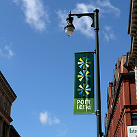 Street Light with a Portland, Maine, USA decorative banner
