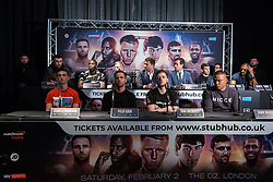 London, UK. 14th January, 2019. Surrey Light Heavyweight Jake Ball (rear left) appears at the press conference for a Matchroom Boxing card at the 02 on 2nd February where he will fight Craig Richards in a 10 X 3 mins Light-Heavyweight contest.