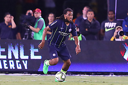 July 25, 2018 - East Rutherford, NJ, U.S. - EAST RUTHERFORD, NJ - JULY 25:  Manchester City defender Jason Denayer (28) during the first half of the International Champions Cup Soccer game between Liverpool and Manchester City on July 25, 2018 at Met Life Stadium in East Rutherford, NJ.  (Photo by Rich Graessle/Icon Sportswire) (Credit Image: © Rich Graessle/Icon SMI via ZUMA Press)