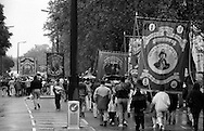 Mines Rescue, Denby Grange, Houghton Main and Shafton Workshops Branch banners. 1991 Yorkshire Miners Gala. Doncaster.