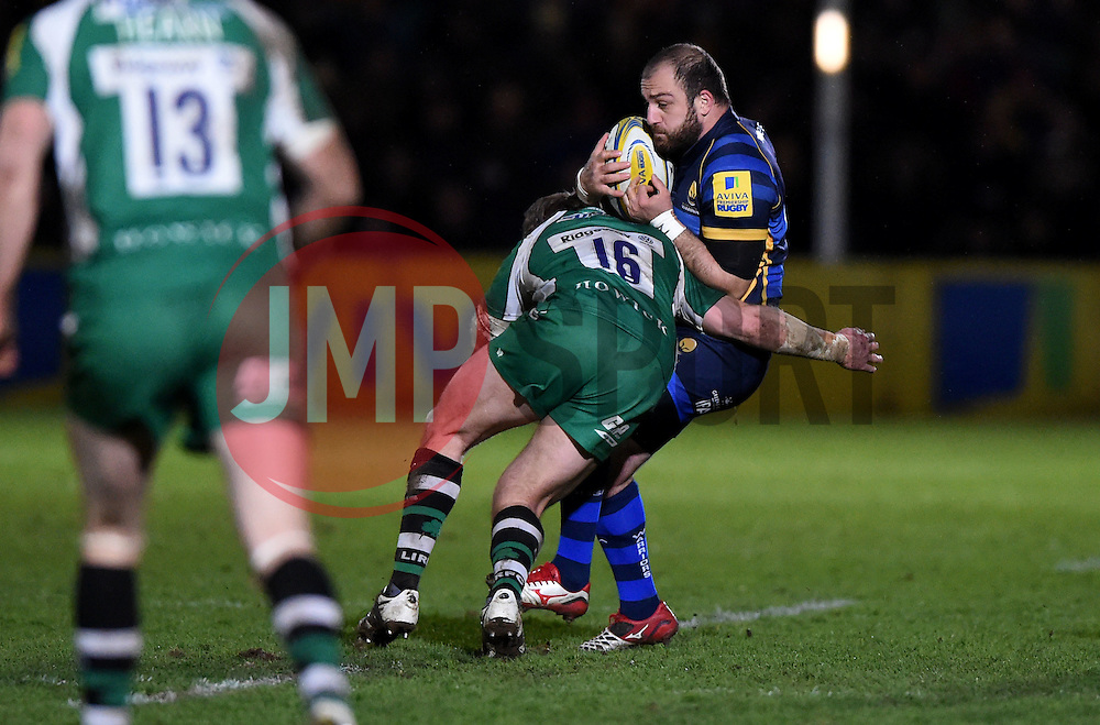 David Paice replacement for London Irish tackles Worcester Warriors replacement Jaba Bregvadze - Mandatory by-line: Joe Meredith/JMP - 26/03/2016 - RUGBY - Sixways Stadium - Worcester, England - Worcester Warriors v London Irish - Aviva Premiership