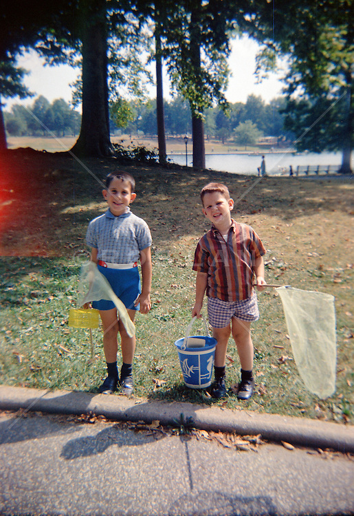 60's photograph of two boys with butterfly nets in Central Park