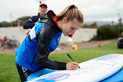 Clara Koppenburg (GER) signs on at Amgen Tour of California Women's Race empowered with SRAM 2019 - Team Presentation in Ventura, United States on May 15, 2019. Photo by Sean Robinson/velofocus.com