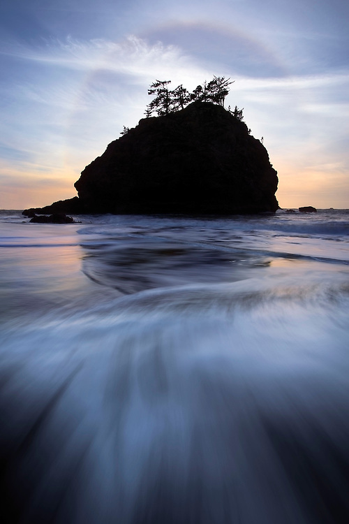 A halo of ice crystals forms in the air above the Pacific Coast, Boardman State Park, USA.