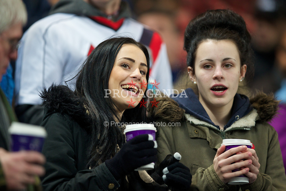 MANCHESTER, ENGLAND - Tuesday, November 5, 2013: Manchester City supporters during the UEFA Champions League Group D match against CSKA Moscow at the City of Manchester Stadium. (Pic by David Rawcliffe/Propaganda)