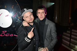 Left to right, BEN THATCHER and MILES KANE at the Warner Music Brit Party held at the Freemason's Hall, 60 Great Queen Street, London on 25th February 2015.