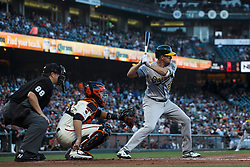 SAN FRANCISCO, CA - AUGUST 13: Stephen Piscotty #25 of the Oakland Athletics at bat against the San Francisco Giants during the second inning at Oracle Park on August 13, 2019 in San Francisco, California. The San Francisco Giants defeated the Oakland Athletics 3-2. (Photo by Jason O. Watson/Getty Images) *** Local Caption *** Stephen Piscotty