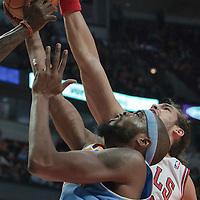 08 November 2010: Chicago Bulls' center #13 Joakim Noah blocks Denver Nuggets' center #34 Melvin Ely during the Chicago Bulls 94-92 victory over the Denver Nuggets at the United Center, in Chicago, Illinois, USA.