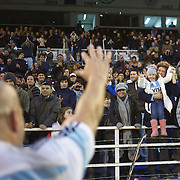 Man of the match Felipe Contepomi, Argentina, waves to his family after the Argentina V France test match at Estadio Jose Amalfitani, Buenos Aires,  Argentina. 26th June 2010. Photo Tim Clayton....