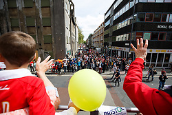 during the Bristol City open top bus parade to celebrate winning both the League 1 and Johnstone's Paint Trophy titles this season and promotion to the Championship - Photo mandatory by-line: Rogan Thomson/JMP - 07966 386802 - 04/05/2015 - SPORT - FOOTBALL - Bristol, England - Bristol City Bus Parade.