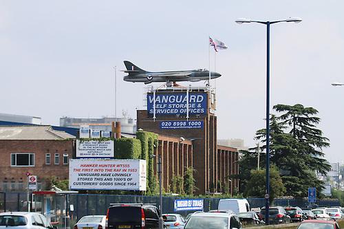Hawker Hunter WT555 On Rooftop Of Vanguard Self Storage ...