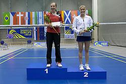 Medal ceremony of women singles at Slovenia Open Badminton tournament 2012, on May 13, 2012, in Medvode, Slovenia. (Photo by Grega Valancic / Sportida.com)