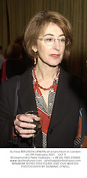Actress MAUREEN LIPMAN at a luncheon in London on 9th February 2001.OLF 9
