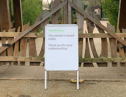 "© Licensed to London News Pictures. 09/02/2019. London, UK. A notice at the entrance to the tiger enclosure at London Zoo where endangered Sumatran tiger Melati was killed in fight with a male. Male tiger Asim was brought to the zoo from a Danish safari park 10 days ago in the hope he would be the ""perfect mate"" for long-term resident Melati. Photo credit: London News Pictures."