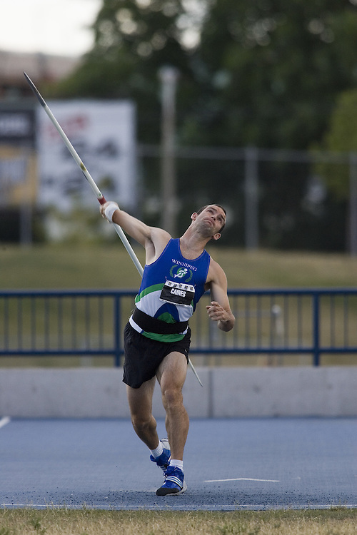13 July 2007 (Windsor--Canada) -- The 2007 Canadian National Track and Field Championships... Cliff Caines competing in the decathlon javelin.