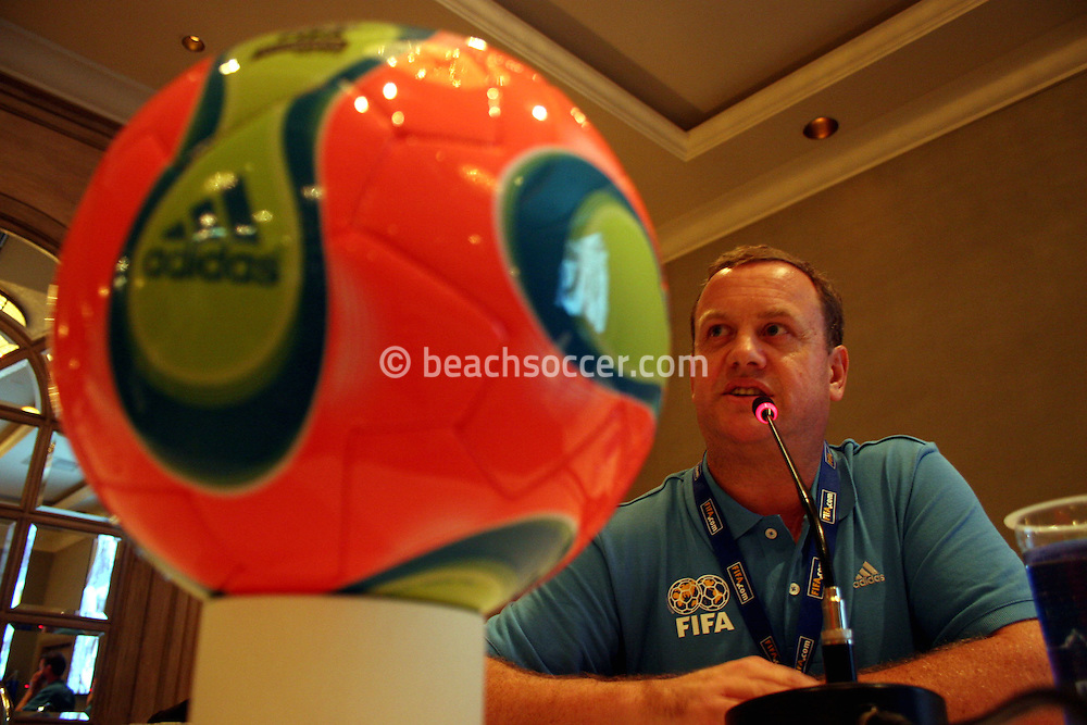 Football - FIFA Beach Soccer World Cup 2006 - Team Coordination Meeting for Group Stage - Rio de Janeiro - Brazil 01/11/2006 -Joan Cusco speaks during the meeting -<br />