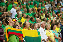 Fans of Lithuania listening to the national anthemn during basketball game between National basketball teams of Lithuania and Germany at FIBA Europe Eurobasket Lithuania 2011, on September 11, 2011, in Siemens Arena,  Vilnius, Lithuania. (Photo by Vid Ponikvar / Sportida)