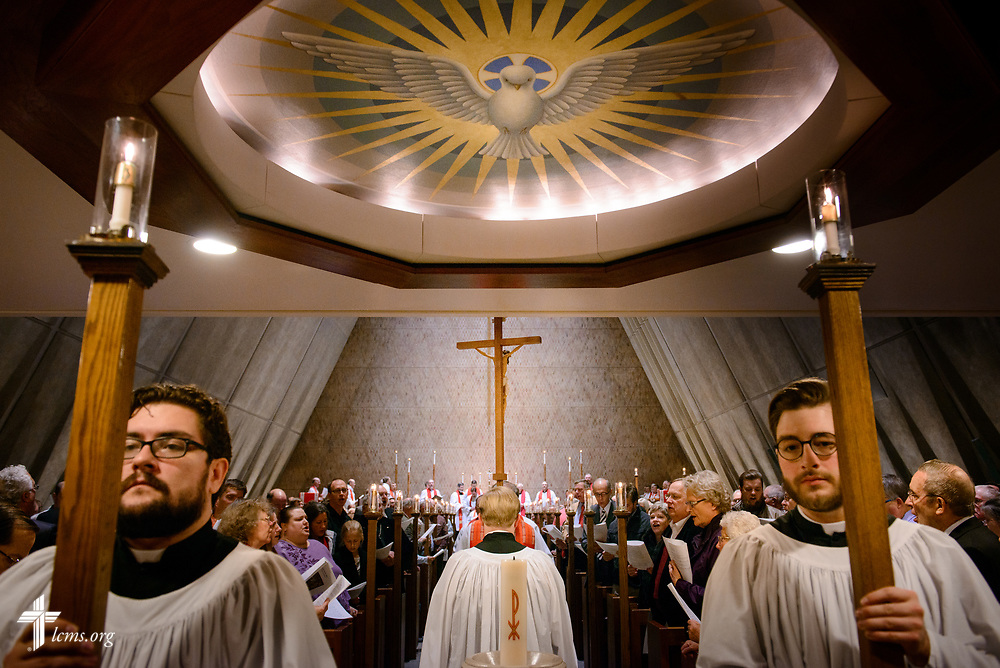 Seminarians Eli Voigt, Wade Bellesbach, and Daniel Boraddus lead the recessional following the 500th Anniversary of the Reformation service on Tuesday, Oct. 31, 2017, at Concordia Theological Seminary, Fort Wayne, Ind. LCMS Communications/Erik M. Lunsford
