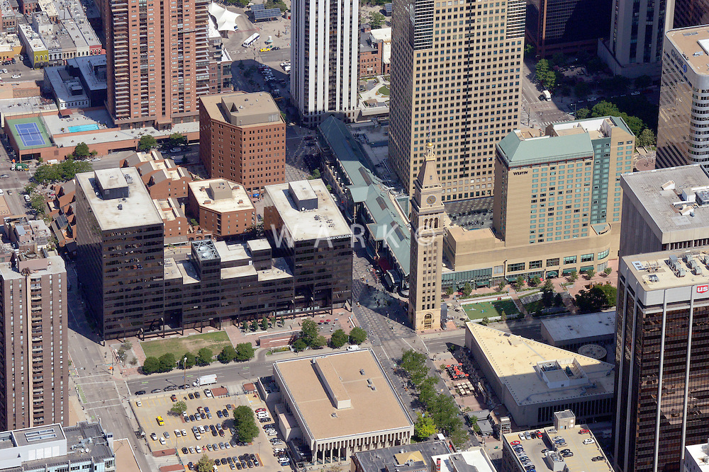 Aerial of downtown Denver, 16th Street Mall.  June 23, 2014. 85567