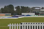 Very wet Grace Road on Day 3 for  the Specsavers County Champ Div 2 match between Leicestershire County Cricket Club and Middlesex County Cricket Club at the Fischer County Ground, Grace Road, Leicester, United Kingdom on 12 June 2019.