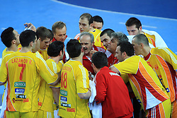 Head coach of Macedonia Ile Temelkovski during 21st Men's World Handball Championship preliminary Group C match between FYR Macedonia and Germany, on January 21, 2009, in Arena Varazdin, Varazdin, Croatia. (Photo by Vid Ponikvar / Sportida)
