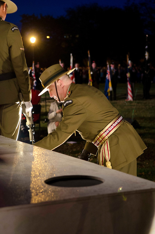 Lieutenant General Rhys Jones lays a wreath at the ANZAC Day dawn service, held in Cranmer Square, Christchurch, New Zealand, Thursday April 25, 2013. Credit:  SNPA / David Alexander