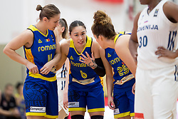 Gabriela Irimia and Sonia Ursu of Romania during basketball match between National teams of Slovenia and Romania in 4. round of FIBA Women's EuroBasket 2019 Qualifiers, on February 14, 2018 in Dvorana Gimnazija Celje - Center, Slovenia. Photo by Urban Urbanc / Sportida