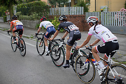 The front group approaches the 10km to go sign during the Giro Rosa 2016 - Stage 1. A 104 km road race from Gaiarine to San Fior, Italy on July 2nd 2016.
