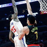 08 January 2018: LA Clippers guard Lou Williams (23) goes for the dunk over Atlanta Hawks forward Ersan Ilyasova (7) during the LA Clippers 108-107 victory over the Atlanta Hawks, at the Staples Center, Los Angeles, California, USA.