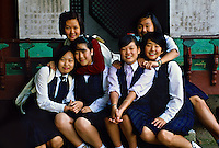 Korean school girls at Piwon (the Secret Garden), Changdok Palace, Seoul, South Korea