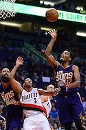 Nov 2, 2016; Phoenix, AZ, USA; Phoenix Suns forward TJ Warren (12) lays up the basketball against the Portland Trail Blazers during the first half at Talking Stick Resort Arena. Mandatory Credit: Jennifer Stewart-USA TODAY Sports