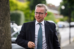 © Licensed to London News Pictures. 14/07/2016. London, UK. MICHAEL GOVE MP arriving back at his home in west London after being sacked as Secretary of State for Justice in Theresa May's cabinet re-shuffle.  Photo credit: Ben Cawthra/LNP