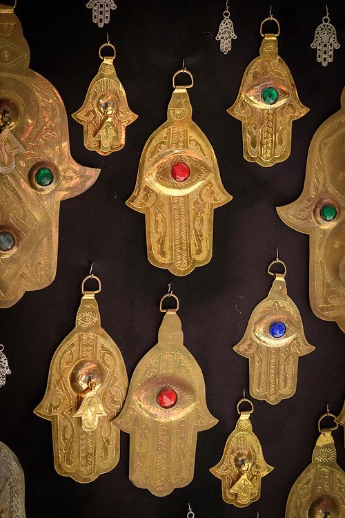 North Africa; Africa; African; Maghreb, Morocco; Moroccan; Marrakesh, souk, medina, market,Fatima door charm