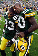 Green Bay's Antonio Chatman, left, and Donald Driver walk off the field after losing to Cleveland. .The Green Bay Packers hosted the Cleveland Browns at Lambeau Field Sunday September 18, 2005. The Packers lost 26-24.  Steve Apps-State Journal.