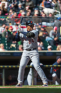 Miguel Cabrera #24 of the Detroit Tigers bats during a game against the Minnesota Twins on April 3, 2013 at Target Field in Minneapolis, Minnesota.  The Twins defeated the Tigers 3 to 2.  Photo: Ben Krause